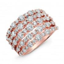 18K Rose Gold White Diamond Five Row Fashion Band
