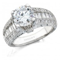 14k White Gold Baguette Diamond Engagement Semi Mount Ring NK8553-W