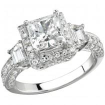 18k White Gold Framed Three Stone Engagement Ring NK8724-W