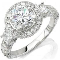 18k White Gold Three Stone Diamond Vintage Engagement Ring NK8779-W