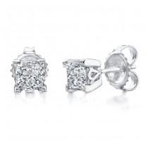Princess Cut Diamond Stud Earrings 1ct
