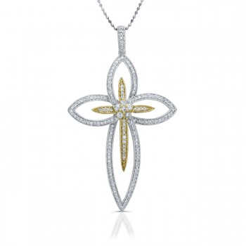 14k White and Yellow Gold Suspended Diamond Cross Pendant