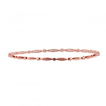 14k Rose Gold Vintage Design Pave Bangle Bracelet
