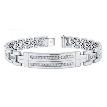 14k White Gold Mens Diamond Bracelet