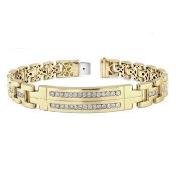 14k Yellow Gold Mens Diamond Bracelet