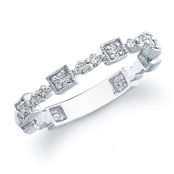 14k White Gold Stackable Diamond Band