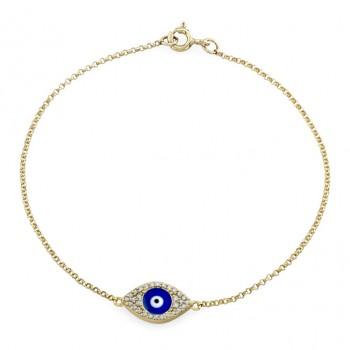 14k Yellow Gold Diamond Encrusted Dark Blue Enamel Evil Eye Bracelet