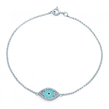 14k White Gold Diamond Encrusted Light Blue Enamel Evil Eye Bracelet