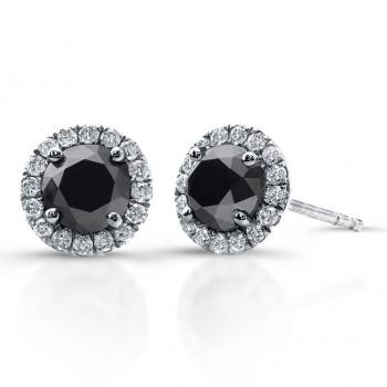14k White Gold 1.00ct twt Black and White Diamond Halo Stud Earrings
