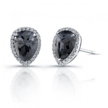 14k White Gold Pear Shaped Black Diamond Halo Earrings