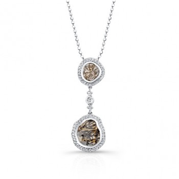 18k White Gold Diamond Sliver and White Diamond Pendant