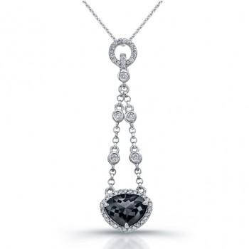 18k White Gold Eternity Rose Cut Black Diamond Drop Pendant