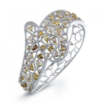 18k White and Yellow Gold Natural Colored Diamond Bangle