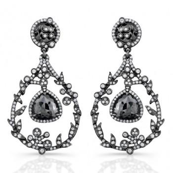 18k Black Gold Rose Cut Black Diamond Chandelier Drop Earrings
