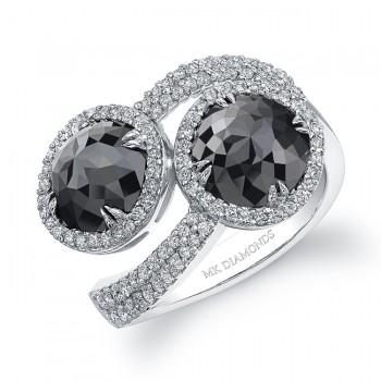 18k White Gold Black Diamond Bypass Ring