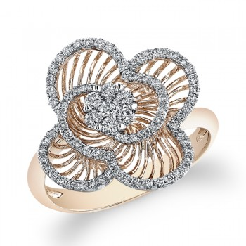 14k Rose Gold Diamond Wire Flower Ring
