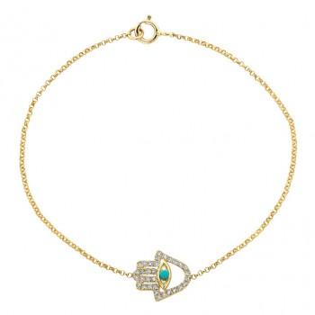 14k Yellow Gold Diamond Turquoise Hamsa Chain Bracelet