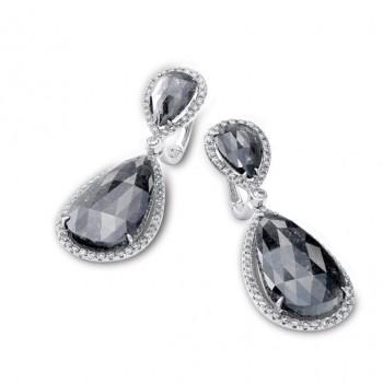 14k White Gold Rose-Cut Black and White Diamond Earrings