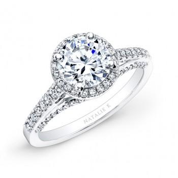 14k White Gold Prong and Bezel Halo White Diamond Engagement Ring