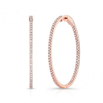 14k Rose Gold Inside Outside White Diamond Hoops