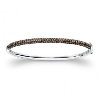 14K White and Black Gold Brown Diamond Bangle Bracelet
