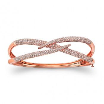 18k Rose Gold White Diamonds Unique Bracelet