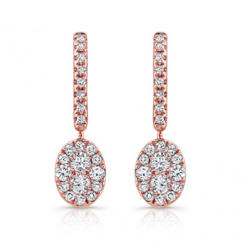 14k Rose Gold White Diamond Oval Drop Earrings