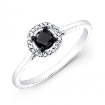 14k White and Black Gold White Diamond Halo Ring with a Black Diamond Center