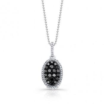 14k White and Black Gold Black Diamond Oval Pendant