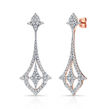 14k Rose Gold White Diamond Drop Earrings