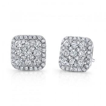 14k White Gold Square Halo White Diamond Stud Earrings