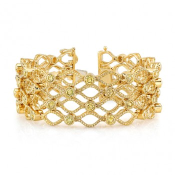 18k Yellow Gold Fancy Natural Color Yellow and Very Yellow Diamond Bracelet