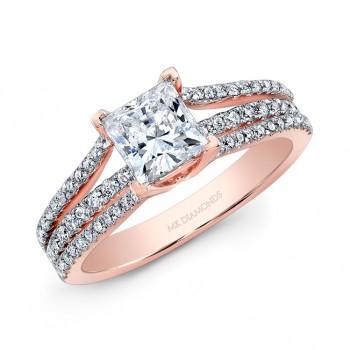 14k Rose Gold Three Band Split Prong Engagement Ring