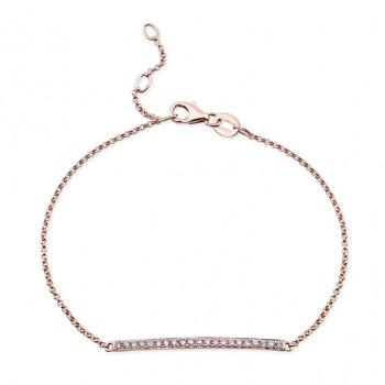 14k Rose Gold White Diamond Bar Bracelet