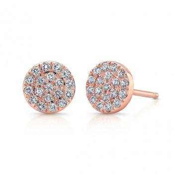 14k Rose Gold Pave Diamond Circle Stud Earrings