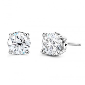 Round - Stud product - carat -0.50-14k White Gold-fg-vc-Very Good Cut With Setting style -3-Prong MartiniAnd Back Type -Push-Back