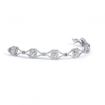18k White Gold Asscher and Emerald Diamond Mosaic Bracelet