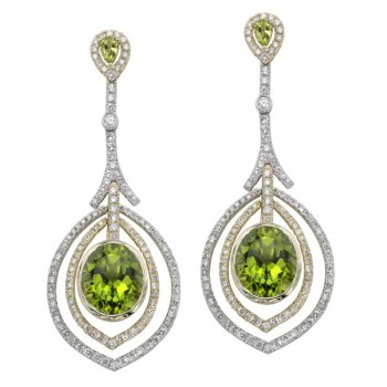 14k White and Yellow Gold Framed Peridot Diamond Earrings - NK19510P-WY