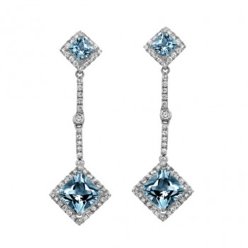 14k White Gold Aquamarine Center Diamond Earrings - NK18152AQ-W