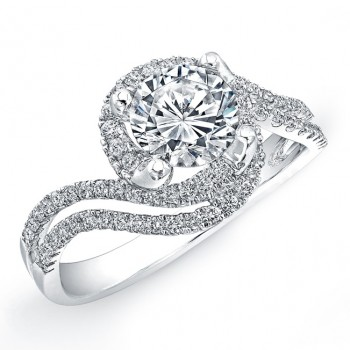 18k White Gold Halo Diamond Split Swirl Shank Engagement Semi Mount Ring NK18506-W