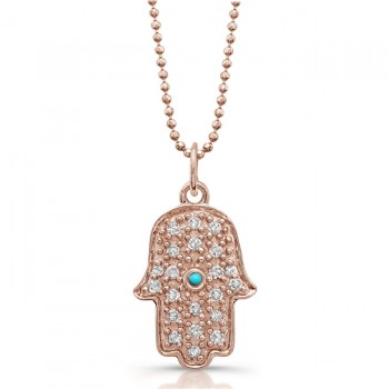 14k Rose Gold Pave Diamond and Bezel Turquoise Hamsa Pendant