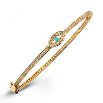 14k Yellow Gold Diamond Turquoise Evil Eye Bangle