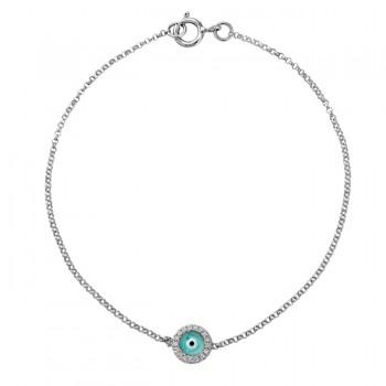 14k White Gold Diamond Light Blue Enamel Evil Eye Chain Bracelet