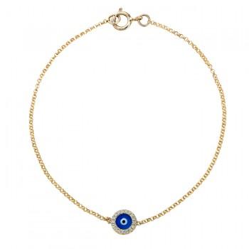 14k Yellow Gold Diamond Dark Blue Enamel Evil Eye Chain Bracelet