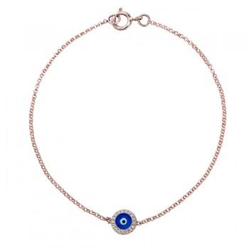 14k Rose Gold Diamond Dark Blue Enamel Evil Eye Chain Bracelet