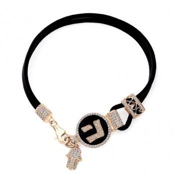 14k Rose Gold Diamond Hebrew Letter Hand of God Leather Bracelet