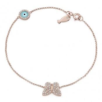 14k Rose Gold Butterfly Fish and Evil Eye Diamond Bracelet