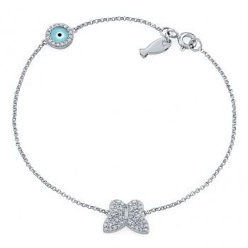 14k White Gold Butterfly Fish and Evil Eye Diamond Bracelet