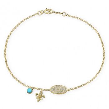 14k Yellow Gold Pave Fleur De Lys Diamond Bracelet