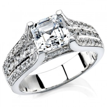 14k White Gold Diamond Pave Channel Engagement Semi NK12077-W